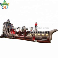 Guangzhou commercial giant inflatable pirate ship slide combo wet and dry large inflatables water slide for adults