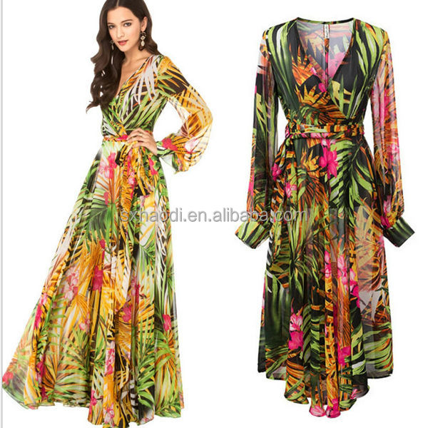 Hd-d282 Wholesale Fashion Bohemian Women Maxi Dress/ladies Casual ...