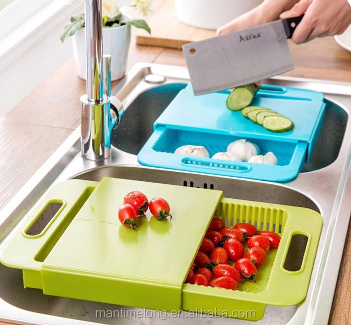 Cocina 3 en 1 tablero de corte fregaderos de Drenaje Cesta contenedor picar Board
