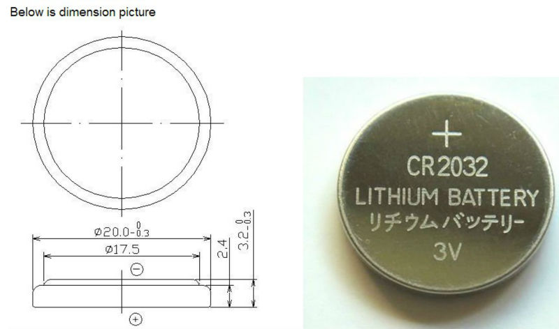 3v lithium battery 220mah CR2032 coin cell lithium battery
