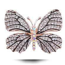 B798 1000 Designs Crystal Brooches Women Gold And Silver Plated Korean Rhinestone Brooch Pins 2017 Latest Butterfly Brooch