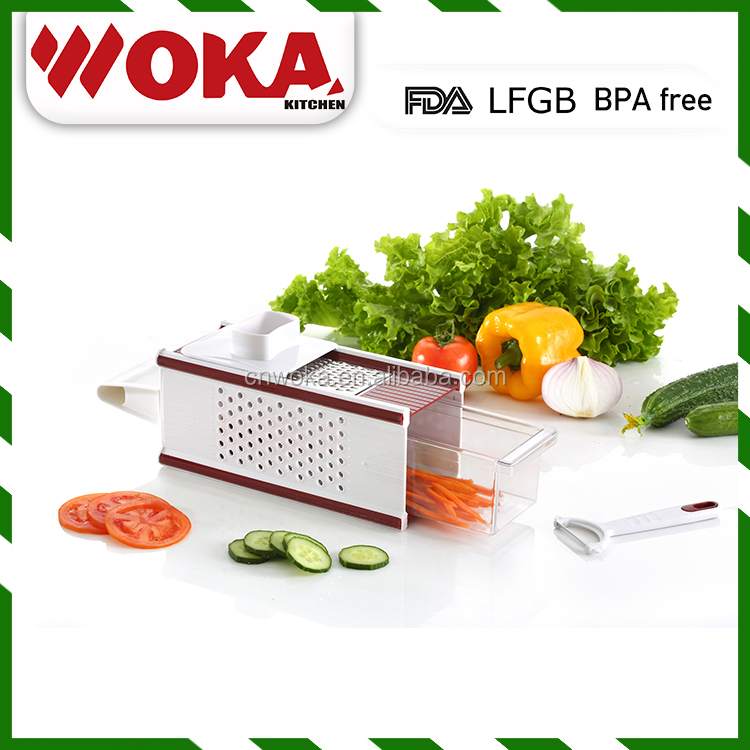 eco friendly plastic food processor vegetable slicer, cutter , peeler, grater, grinder with food container multi blades