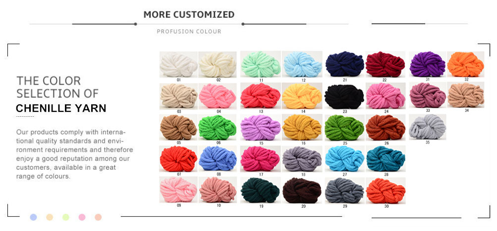 Huge Bulky 2cm, 3cm 100% Chenille Polyester Yarn Wholesale