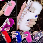 Newest Luxury Bling Warm Soft Beaver Rabbit Fur Hair phone cases for iPhone 5/6/6 Plus/7/7 Plus