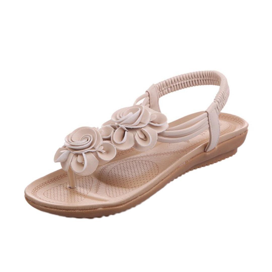 e6a1ba045bc533 Get Quotations · JJLOVE Bohemian Women Slingback Flower T-Strap Thong  Elastic Slip On Flat Sandals band Flat