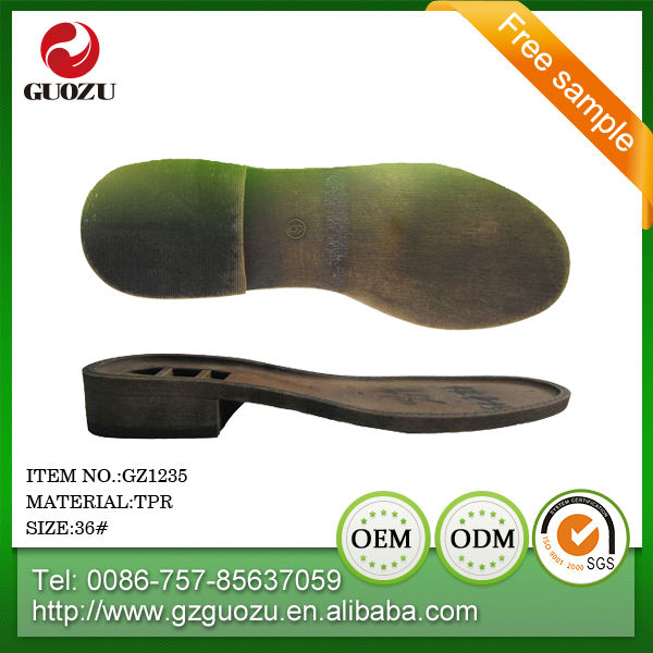 tpr outsole and pvc textile lining material women leather boot sole