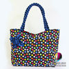 Handbags : Colorful Polka Dot Tote Bags With Front Rose Ribbon And Twisted Fabric Handle , Cloth Purses , Ladies Handbags