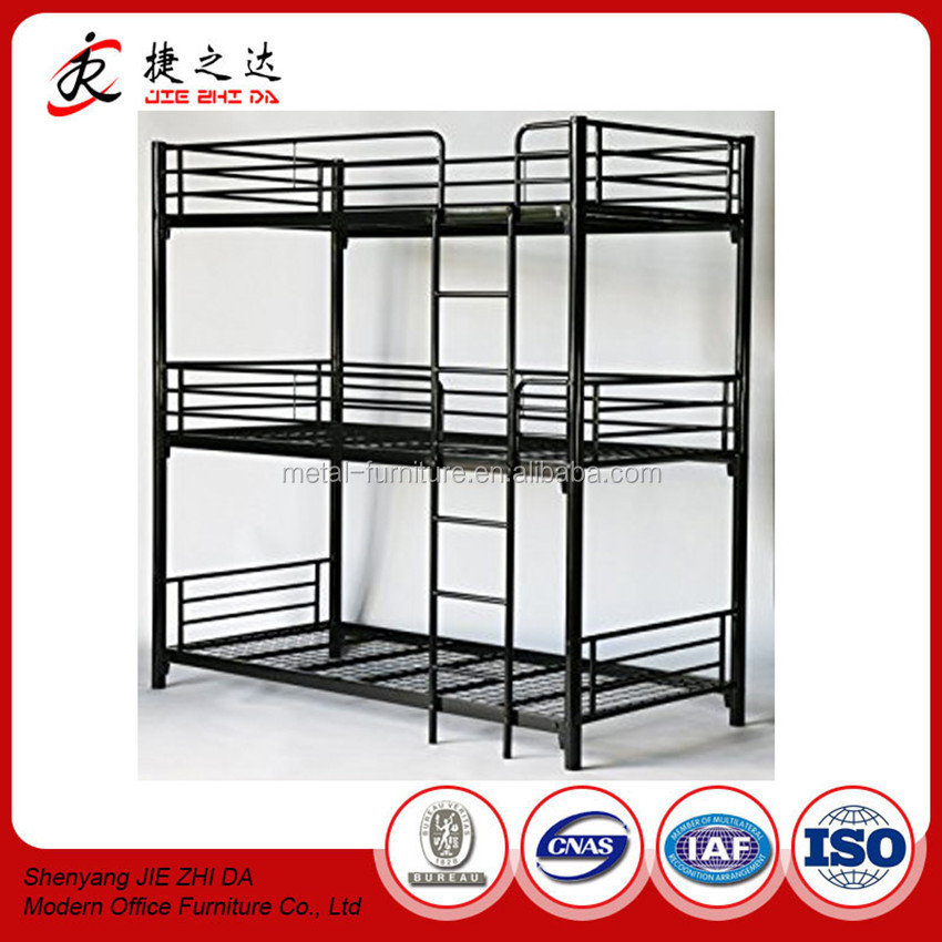 Single Person Metal Kids 3 Tier Bunk Bed Adult Cheap Three High Bunk