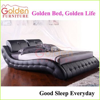 Modern Leather Queen Bed Storage Bed Wooden