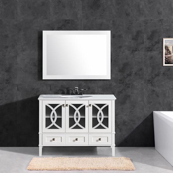 Single Ceramic Sink Contemporary 48'' Vanity Bathroom ...
