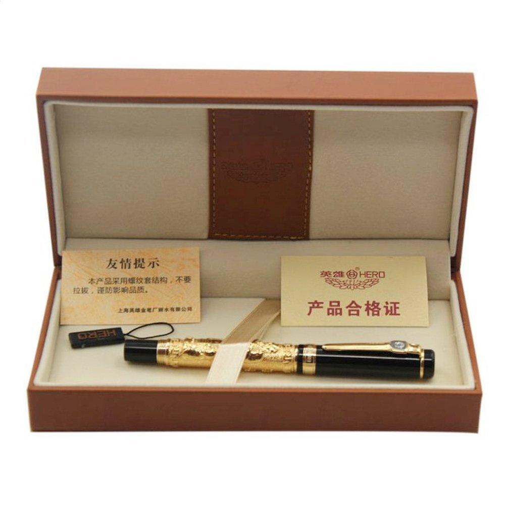 Hero Deluxe Medium Art Nib Confucius Fountain Pen Black with Original Box