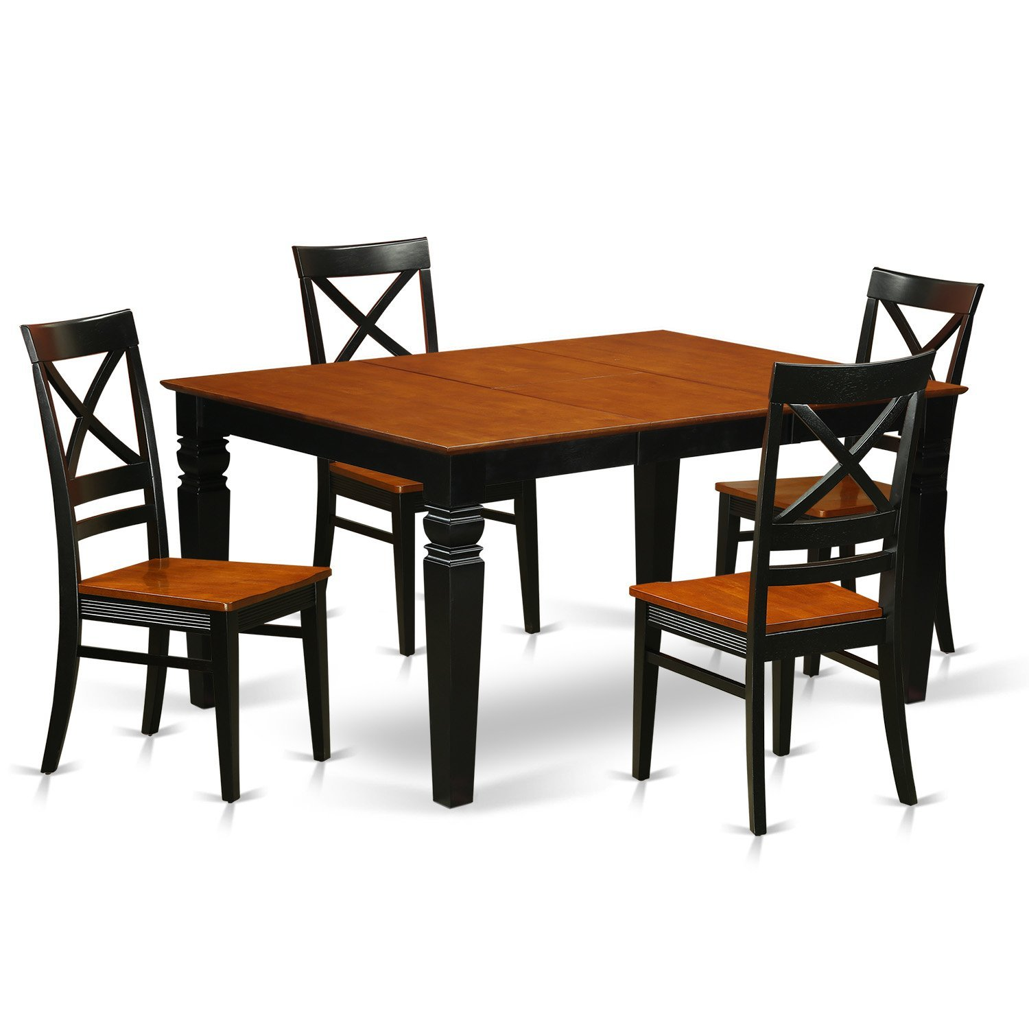 East West Furniture Weston WEQU5-BCH-W 5 Pc Set with a Kitchen Table and 4 Wood Dining Chairs, Black