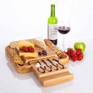 100% Natural Bamboo Cheese Board & Cutlery Set with Slide-Out Drawer and knife