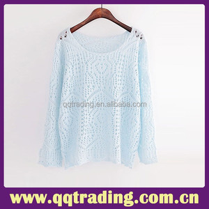 Wholesale Poncho Women Knit Sweater OEM Service Elegant Hook Crochet Computer Knitted Female Sweater