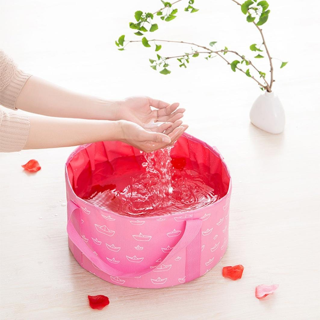 Collapsible Wash Bucket,Nesee10L Portable Multi-functional Durable Leak-Proof Wash Basin Collapsible Bucket (Pink)