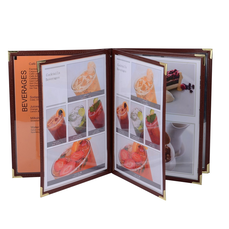 Brown PU Leather Restaurant Menu Folders Food List Menu Covers Coffee Restaurant Menu Folder