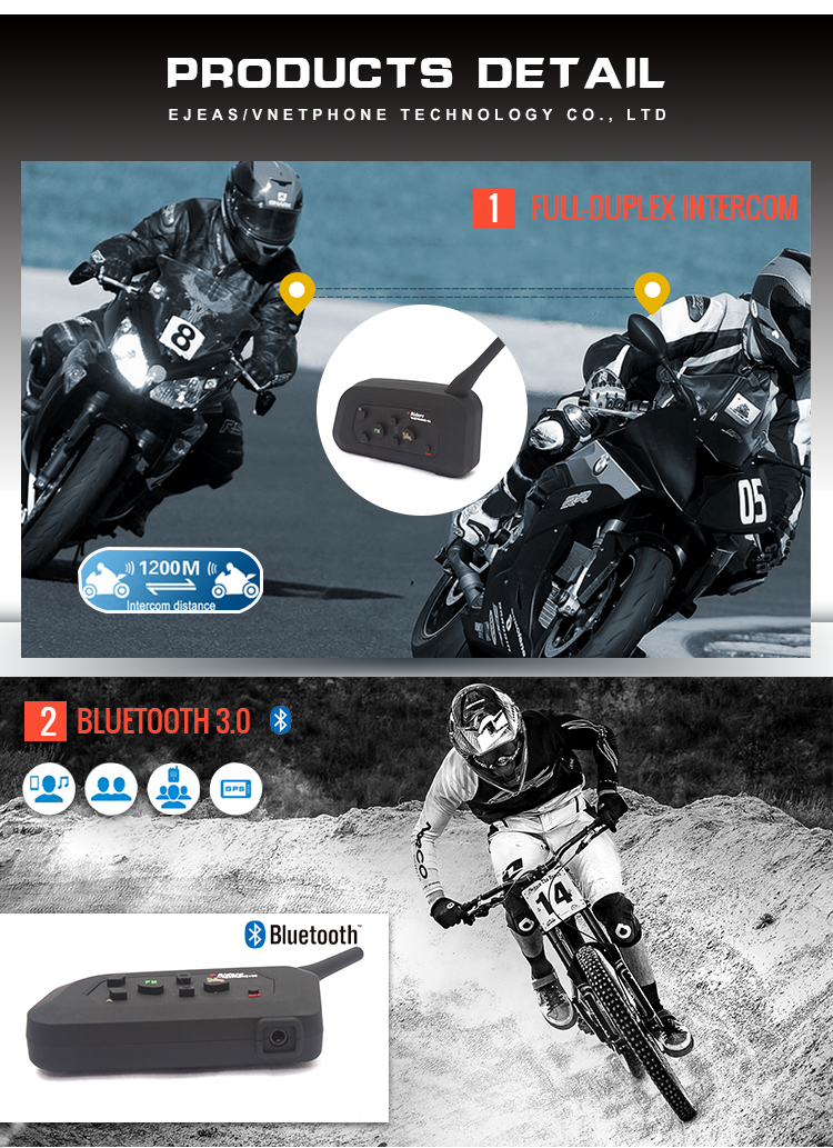 Bluetooth Motorcycle helmet intercom for 4 riders