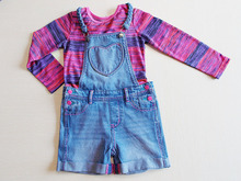 New arrival Braid Design Children Girls Dungarees and Long Sleeve Mix Color T-shirt sets for summer
