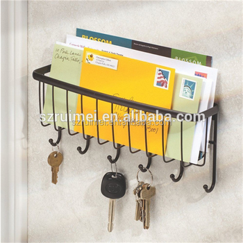 Wall Door Mount Metal Wire Key Hanger Mail Holder Rack Key Organizer ...