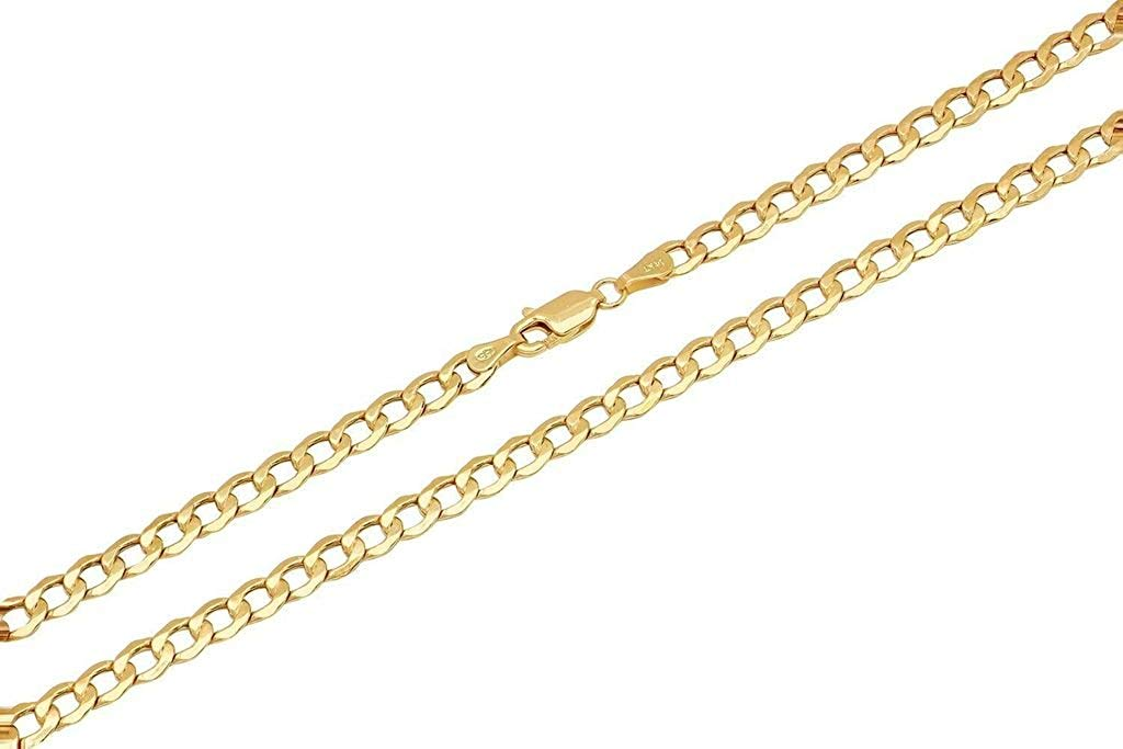 14K Yellow Gold 4mm Cuban Curb Link Chain Necklace Lobster Clasp