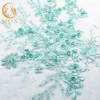 New Arrival Mint 3D Floral Lace Fabric with Rhinestones Lace Embroidery Fabric Wholesale
