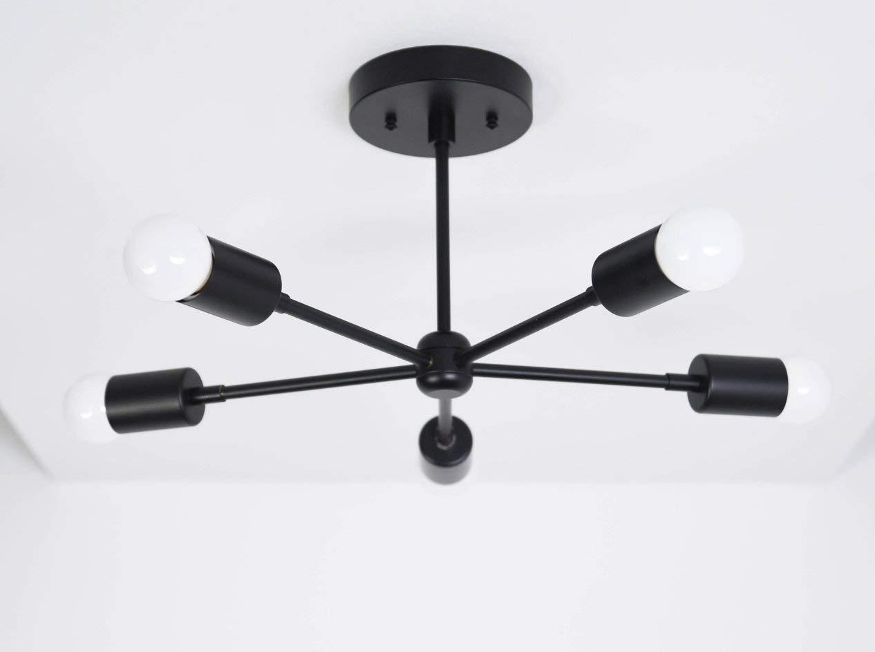Handmade in U.S.A 5 Arm Matte Black Sputnik Style Mid Century Modern Inspired Starburst Chandelier UL Listed