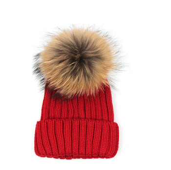 bc8584e6a3d 100% Acrylic Faux Fur Pom Pom Beanie Knitted Hat - Buy 100 ...