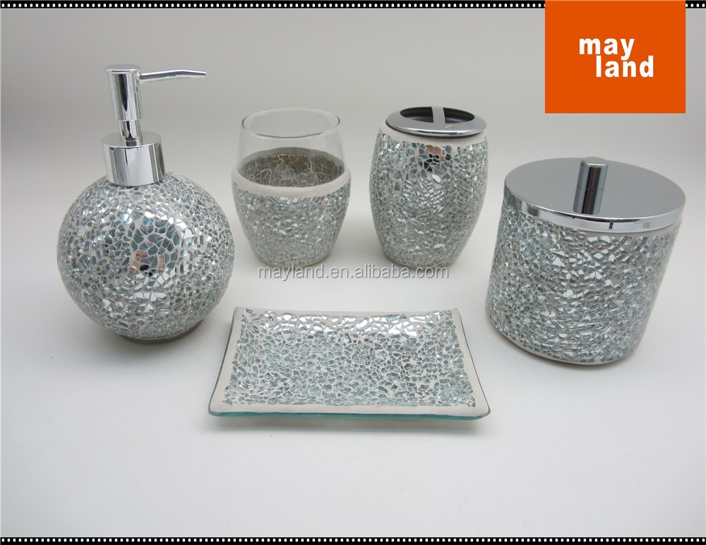 Mosaic Glass bathroom accessory 5pcs set with Cracking Mirror, Ball shape - GALA