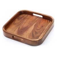 Hot Seller Wholesale Acacia Wood Square Breakfast Serving Tray