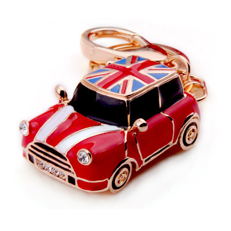 Antique wecker car model keychain, mini retro split metal UK national country flag automotive keyring key ring chain holder