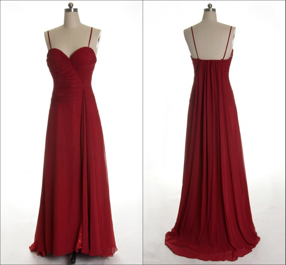 Cheap dark red bridesmaid find dark red bridesmaid deals on line 2015 elegant dark red chiffon pleats simple a line spaghetti straps long bridesmaid dress real ombrellifo Choice Image