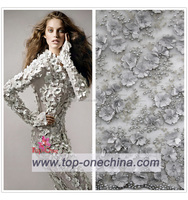 2018 exclusive 3D beaded embroidery lace fabric/3D beaded bridal lace fabric/beaded dress lace fabric