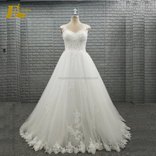 2018 Women Sweetheart Beaded Appliques Bridal Dresses Wedding Gowns with Straps for Ladies