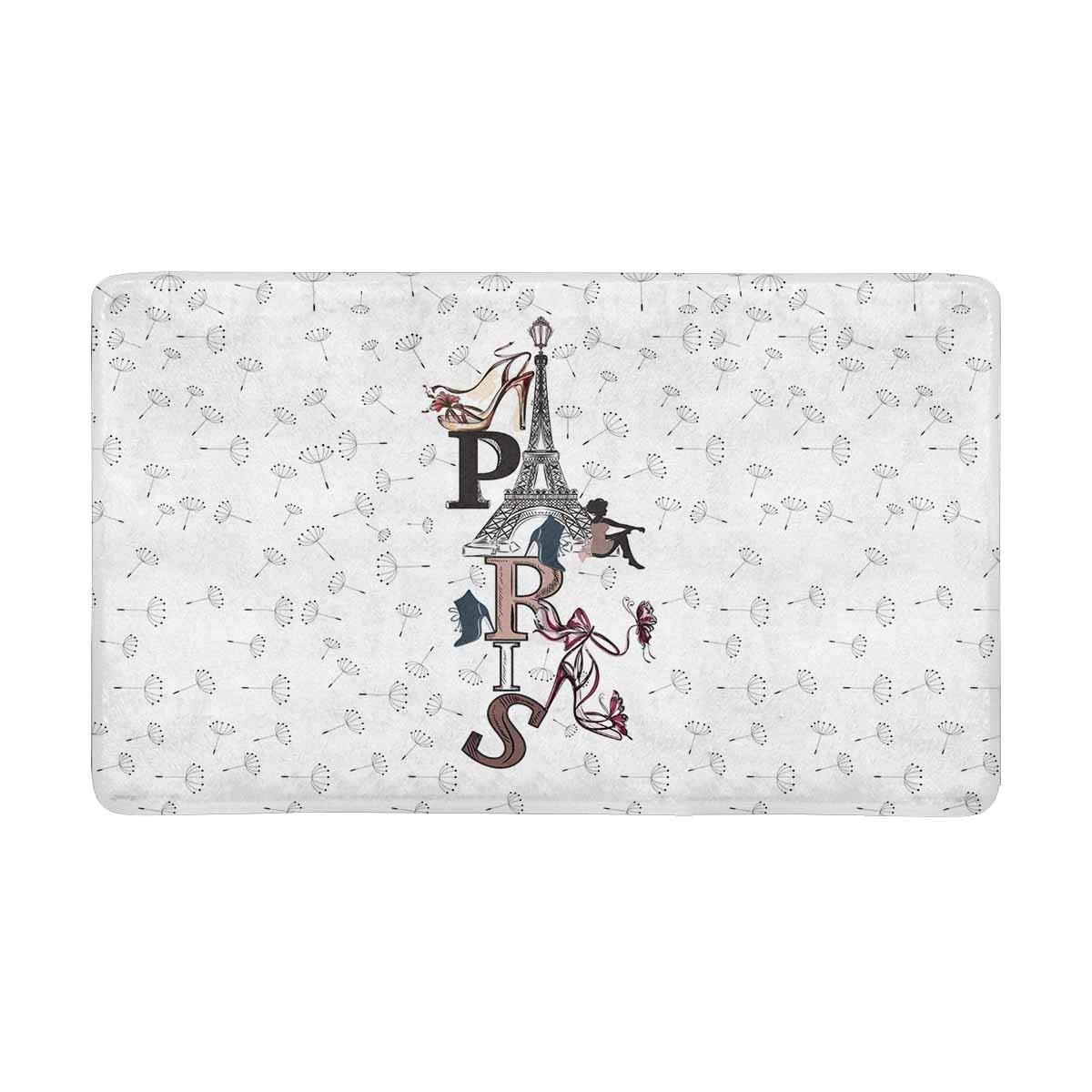 """InterestPrint Fashion Paris Eiffel Tower High Heel Girl and Dandelions Doormat Anti-Slip Entrance Mat Floor Rug Indoor/Outdoor/Front Door Mats Home Decor, Rubber Backing Large 30""""(L) x 18""""(W)"""