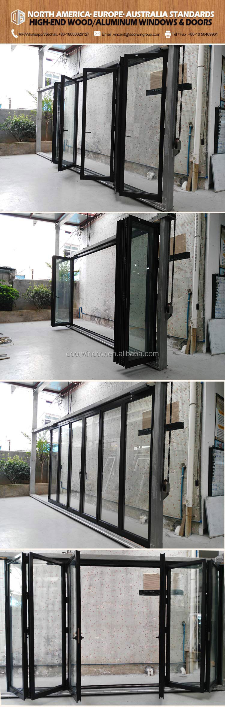 Aluminum profile bifolding door modern folding garage glass doors