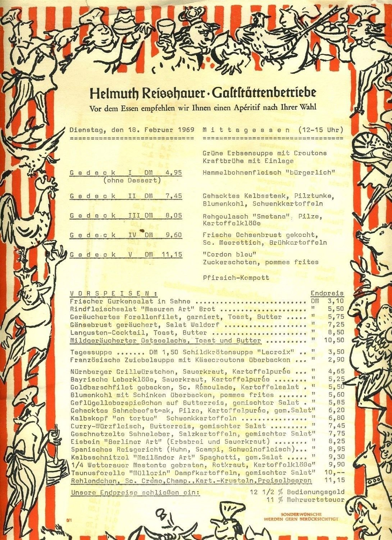Helmuth Reisshauer Gastatattenbetriebe Menu Berlin Germany 1969