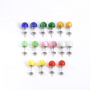 High Quality Stainless Steel Ear Studs Women Amber Stone Fashion Earring