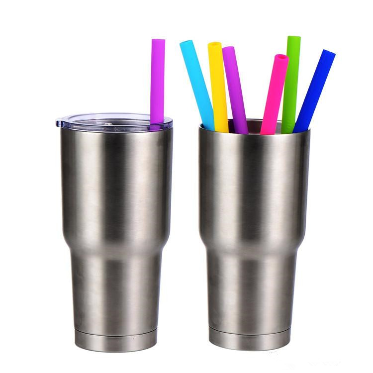 Food Grade Reusable Silicone Drinking Straight Straw With Heat Resistance