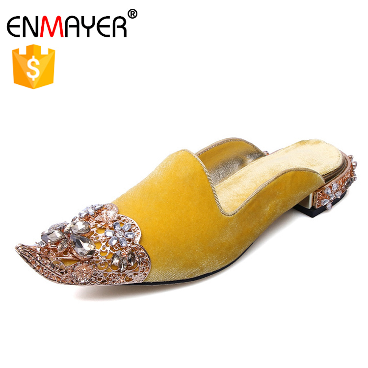 slippers pointed date slipper fashion crystal mules decorated summer toe sandals flannelette lady 2017 TCIqgx