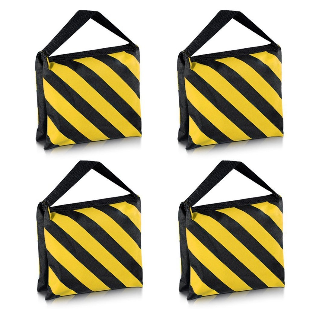 SODIAL(R) Heavyweight bag Heavy duty film bag for studio video studio for light supports tripod arms (4 Pcs Set, Black + Yellow)