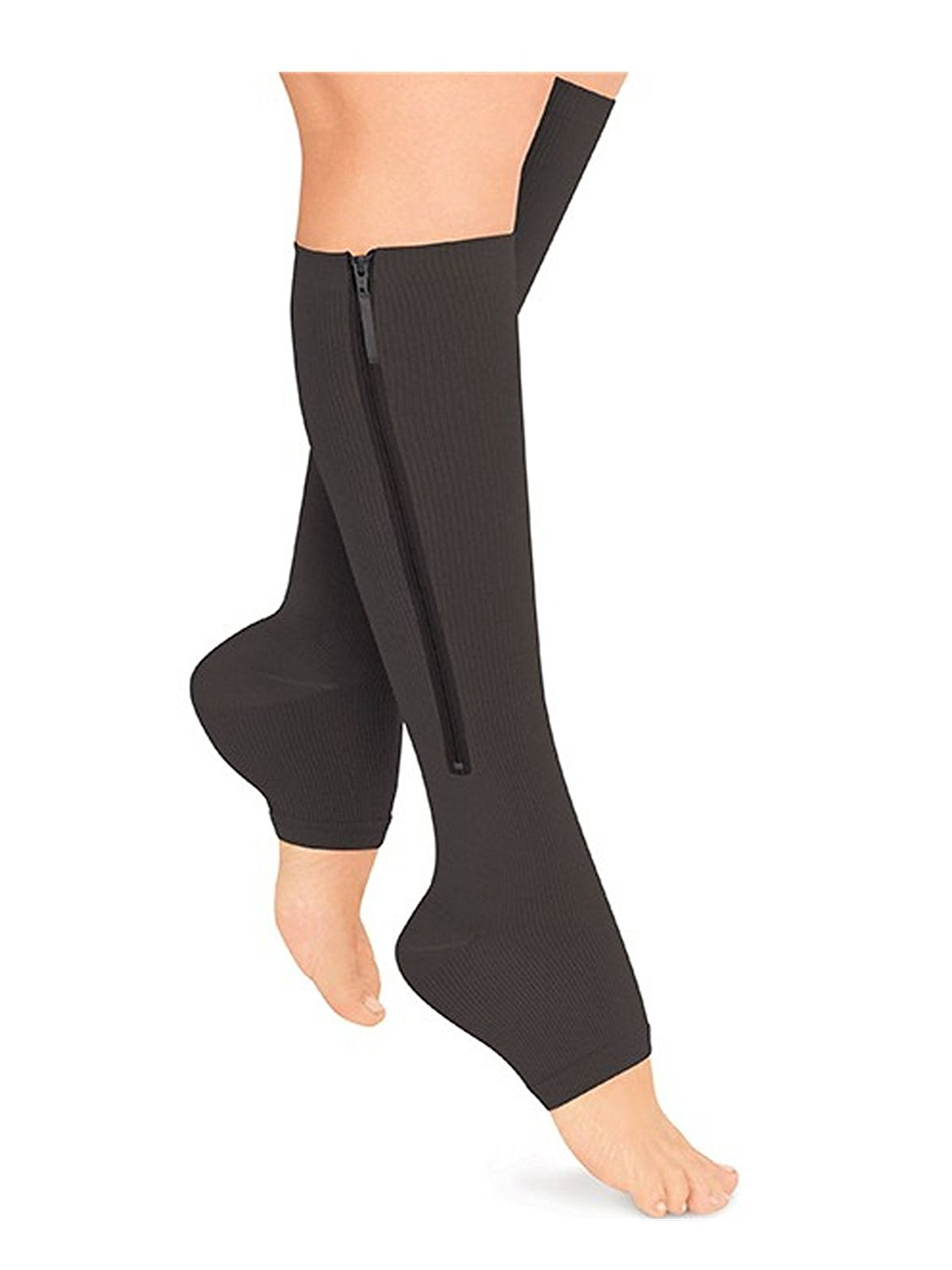 c2538af2623 Get Quotations · Starmace Open Toe Zipper Compression Grade Leg Circulation  Reduce Fatigue Swelling Medical Recovery Support Stockings Socks