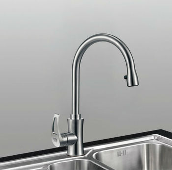 Water-saving design modern style single lever pop up kitchen faucet