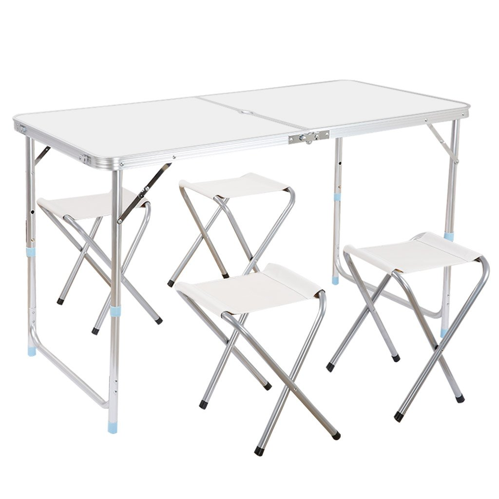 Finether Portable Folding Table Sturdy And Lightweight Steel Frame Legs with 4 Folding Chairs, 4 Adjustable Heights feet, for Indoor/Outdoor Use,Camping Picnic, Party Dining, White