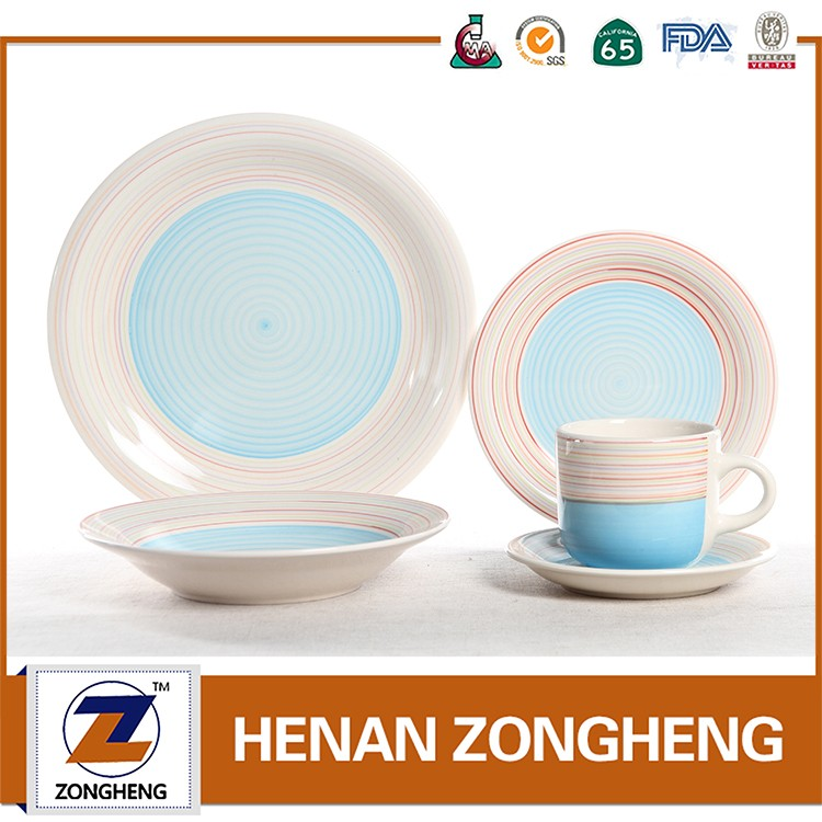 Hot selling 20pcs hand painted color swirl stoneware dinnerware for daily used