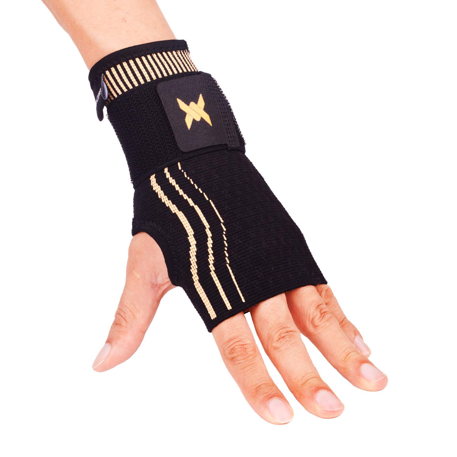 34c7026f46 Get Quotations · Thx4 Copper Wrist Sleeve with Adjustable Strap for Extra  Support -Copper Infused Compression Wrist Brace