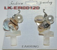 2012 wholesale cross shaped shell earring with pearl jewelry