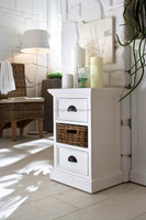 Rustic White Painted Modern Bathroom Vanity Cabinet With Rattan Basket for Home Decoration