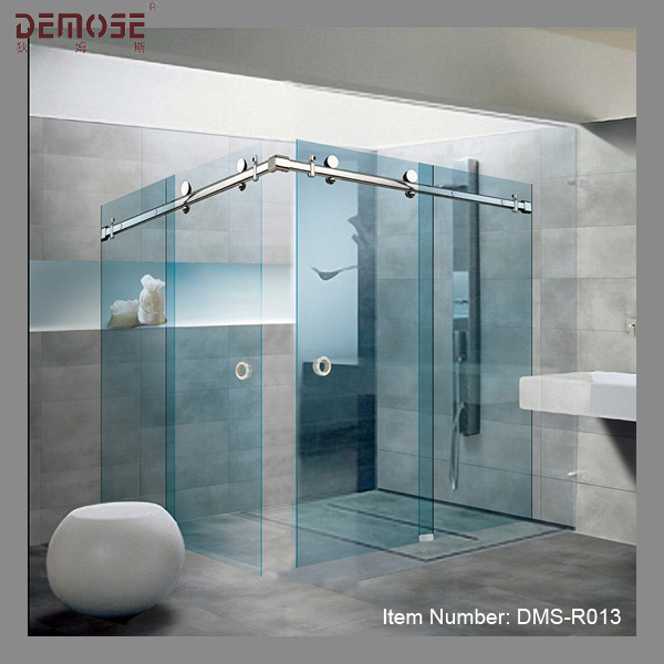 Art Hotel Double Sliding Glass Doors Blue Glass Shower