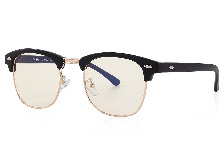 c86e68e1727 Get Quotations · MERRY S Vintage Half Frame Semi-Rimless Glasses  Radiation-resistant Computer Non-prescription Glasses