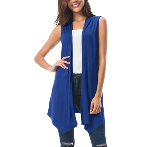 Draped Open Front Ladies Vest Knit Sleeveless Cardigan Women